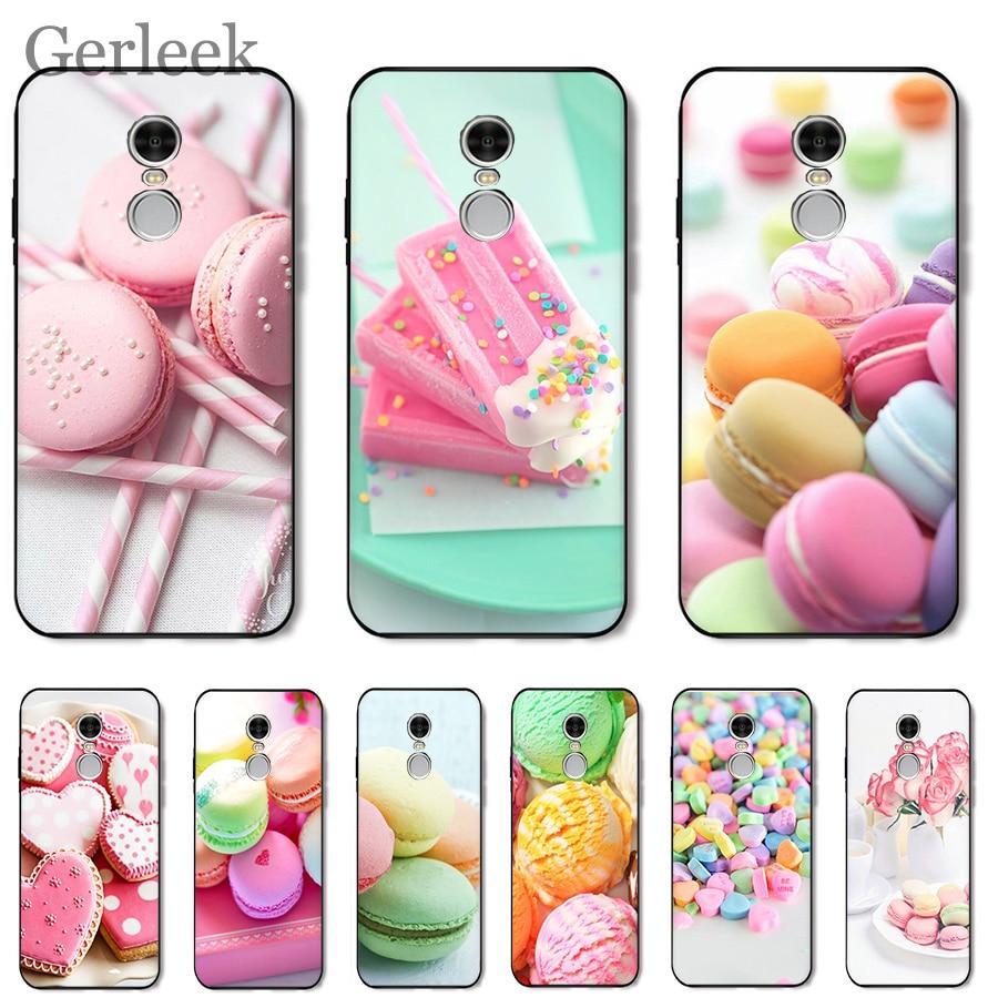 Phone Case PINK Heart Dessert Ice Cream Macarons Cake For Xiaomi Redmi Note 4 4A 4X 5 5A 6 7 GO S2 6A Pro Plus Prime Cover