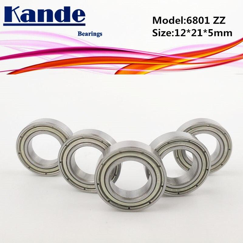 6801 ZZ ABEC-1 12x21x5 10 Uds 6801ZZ sección delgada Ranura Profunda 6801 rodamiento 61801
