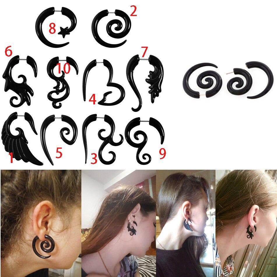 JUNLOWPY 1 Uds 16g Tribal espiral calibre falso acrílico tapones falsos para los oídos cuerno stud pendientes ala falso Piercings cuerpo