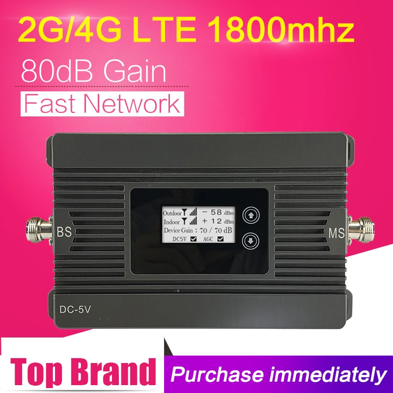 Potência 80db ganho 4g lte 1800 mhz celular sinal impulsionador banda 3 27dbm 4g dcs 1800 repetidor de sinal móvel 4g amplificador lcd display