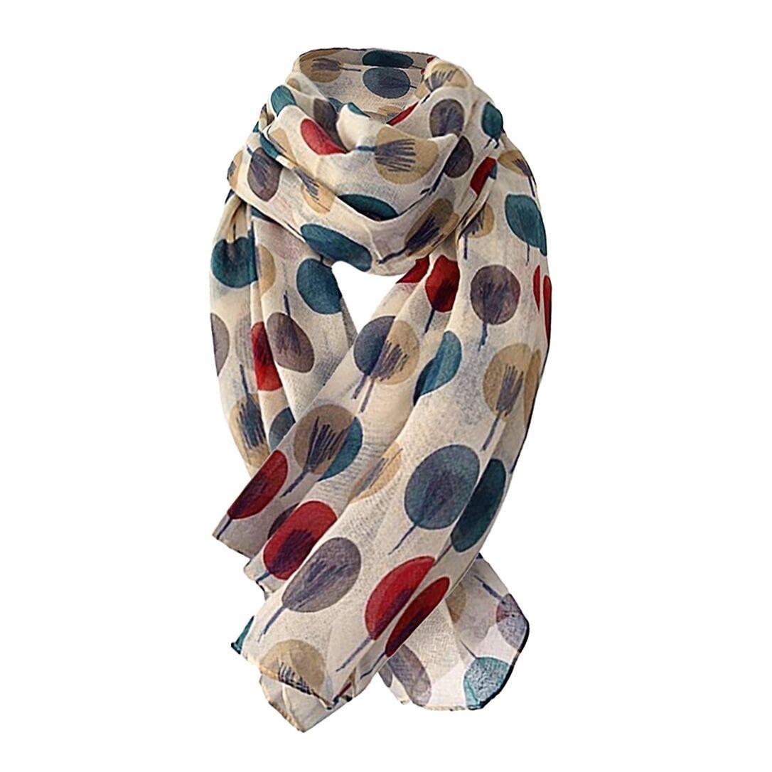Multicolorido sketch árvores impresso lenço longo macio xale moda senhoras neckerchief wrap cachecóis elegantes