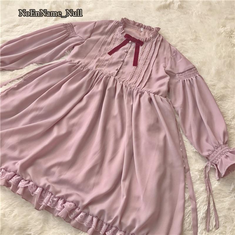 2020 Chiffon Lolita Vestido de manga larga de alta cintura clásico dulce encaje vestidos de princesa del arco Cosplay disfraces