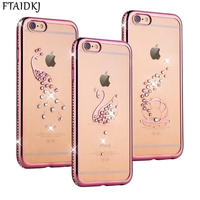 Lujosa carcasa de silicona con diamantes de imitación para iPhone X, carcasa de diamante brillante, funda trasera del teléfono, funda blanda para iPhone 6, 6 S, 7, 8 Plus, Coque