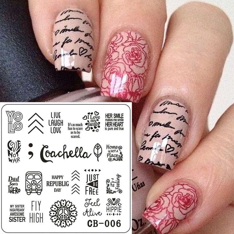 1 ud. Placa de estampado cuadrada de acero inoxidable alfabeto corazón flor hojas Nail Art plantillas Nail Image placas de sello CB006