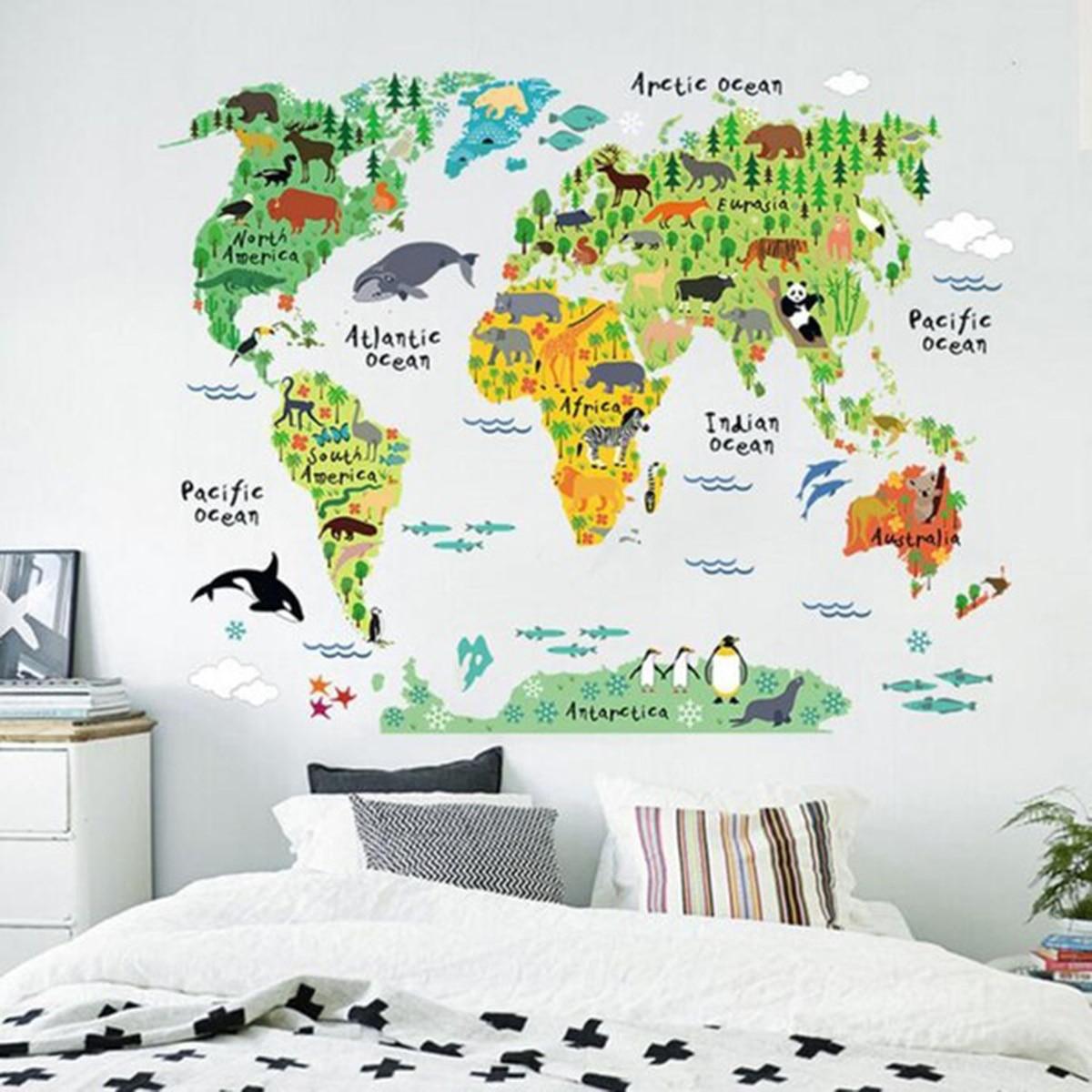 Grande crianças animais educativos mapa do mundo removível decalque arte mural decoração para casa adesivos de parede