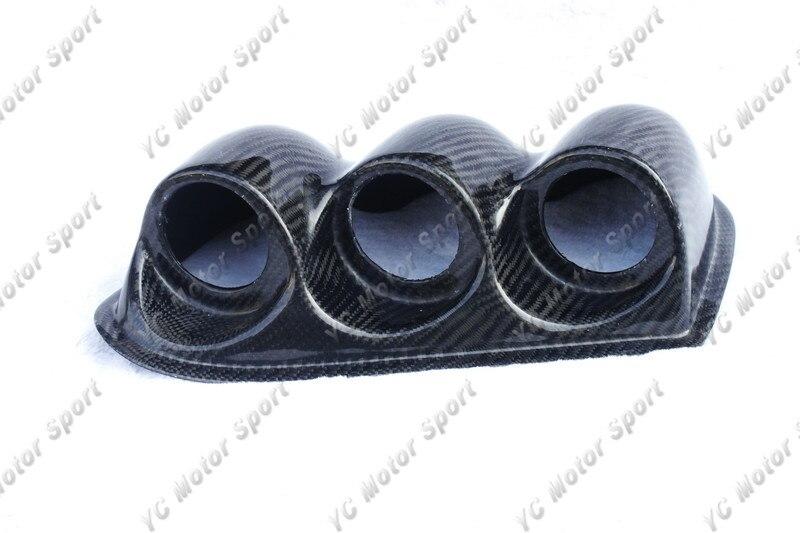 Fibra de carbono Triple Dash Gauge Pod 52mm/60mm ajuste para 2001-2007 Evolution 7-9 EVO 7 8 9 LHD Triple Dash Gauge Pod Cover