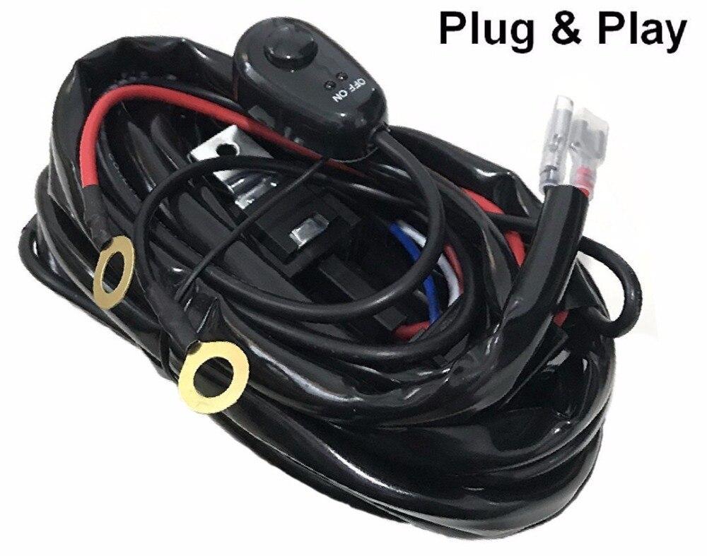 Kit de arnés de relé de cable con interruptor/cableado kit de arnés de telar con fusible y relé para conducción de luz Led fuera de carretera 12V 24V