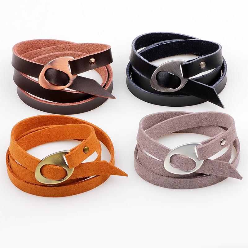 Pulsera de piel de moda de alta calidad, brazalete negro y marrón Vintage, brazalete ancho multicapa, joyería masculina para hombres y mujeres, regalo Unisex