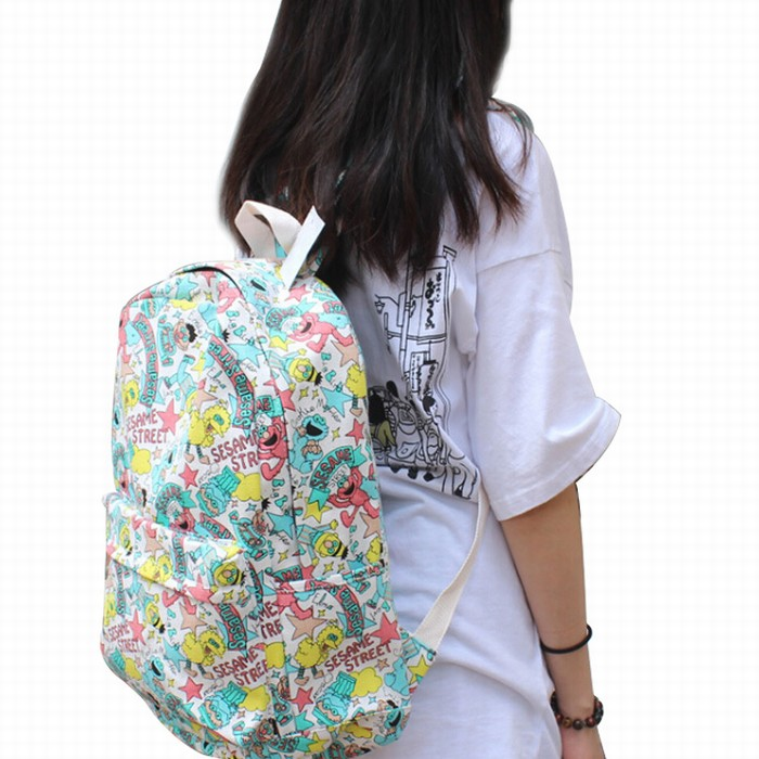 أنيمي شارع سمسم الكرتون الأزياء المدرسية على ظهره حقائب السفر كمبيوتر محمول حقيبة كتف