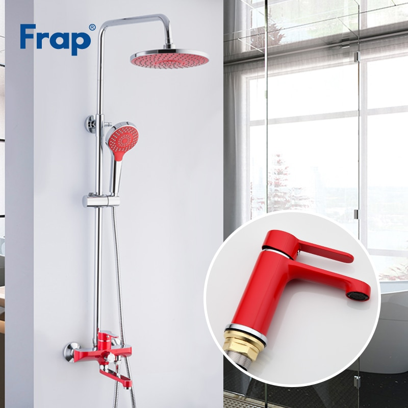 Grifería de baño Frap, grifería para bañera montada en la pared, grifería para lavabo, grifo rojo para Grifo de ducha de baño, Set F2443 F1043