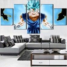 5 Pieces Canvas Art Anime Super Saiyan Blue Vegito Painting Wall Art Modern Home Decor HD Print Dragon Ball Super Poster Framed