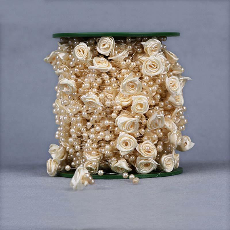 30 m/lote, 4 colores Spray manojo de 4MM Artificial Mini perla de resina, 12MM de cinta de satén rosas falsas, decoración DIY para boda, hogar