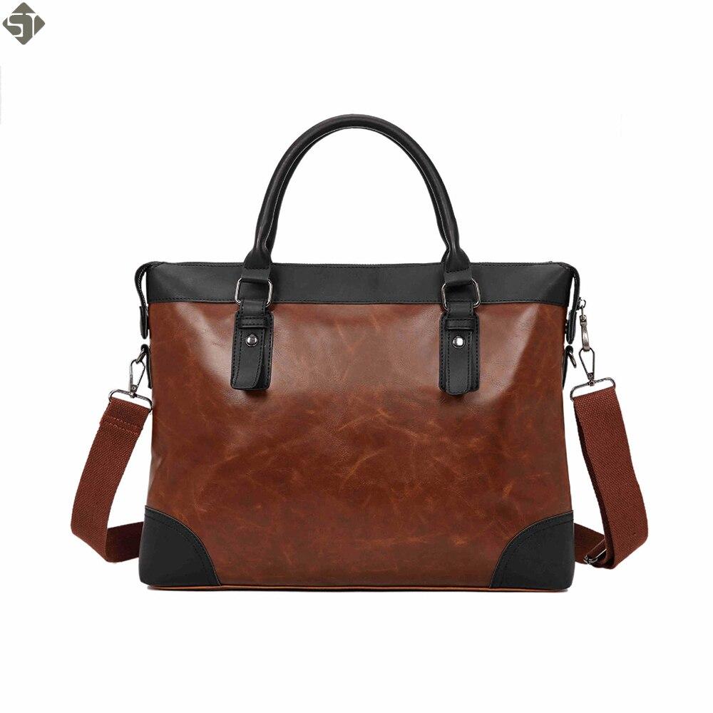 Nuevo maletín de cuero de Caballo loco para hombres, bolso de mensajero de marca famosa para hombres, bolso de ordenador portátil para hombres, bolso de hombro de moda de negocios, bolso de viaje