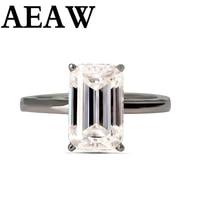luxury 3carat moissanite ring solid 10k white gold engagement ring emerald cut lab grown diamond wedding ring for women