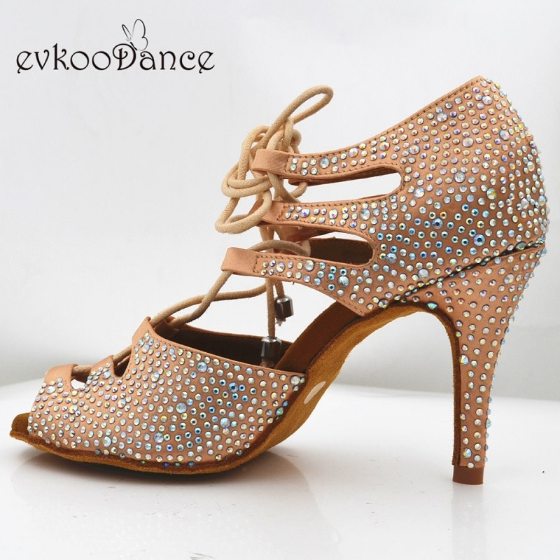 Zapatos De Baile 8,5 cm Altura del tacón Color caqui con diamantes De imitación Zapatos De Baile Latino tamaño US 4-12 profesional NL236