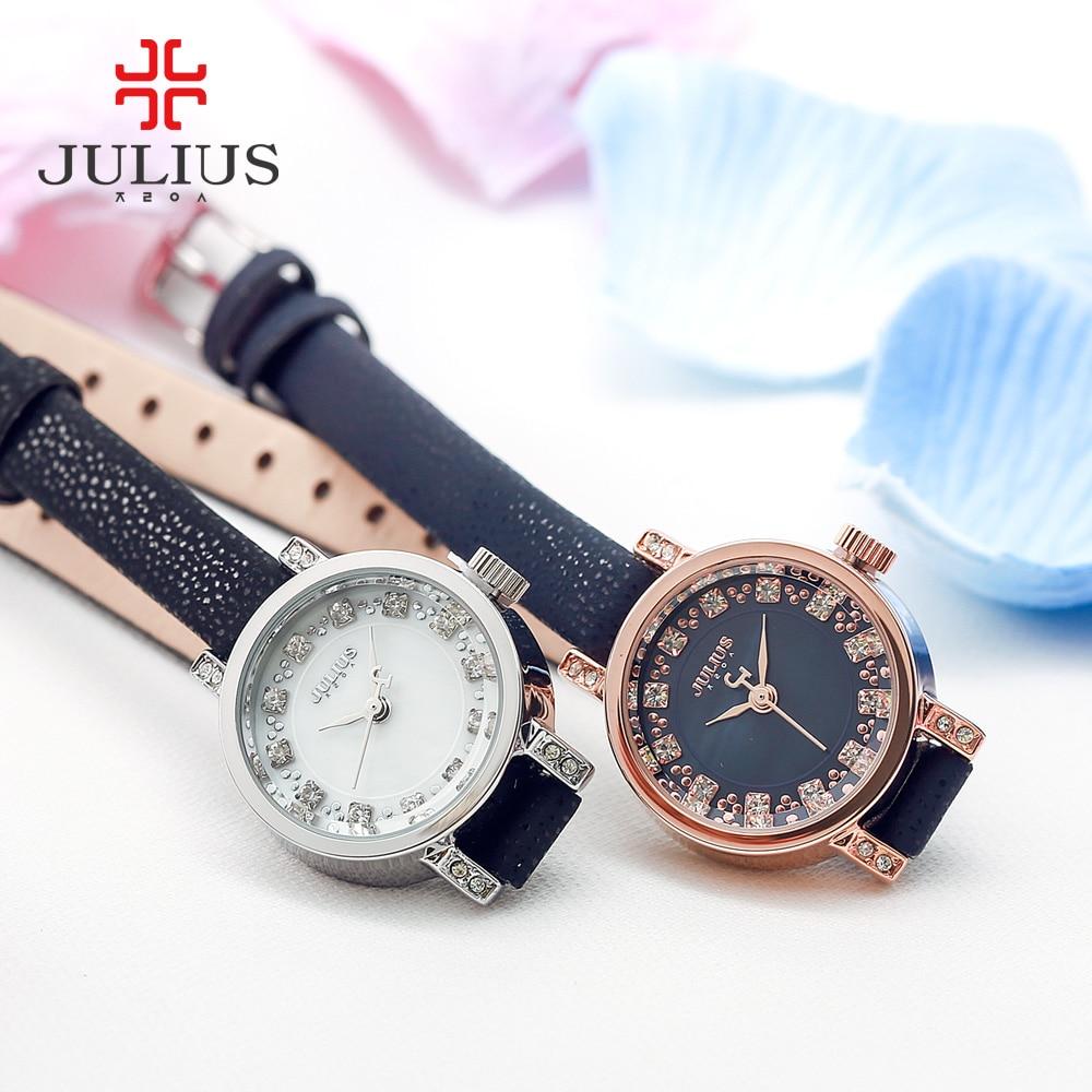 New Julius Lady Women's Watch Fashion Hours Dress Rhinestone Shell Bracelet Leather Business School Girl Birthday Gift Box