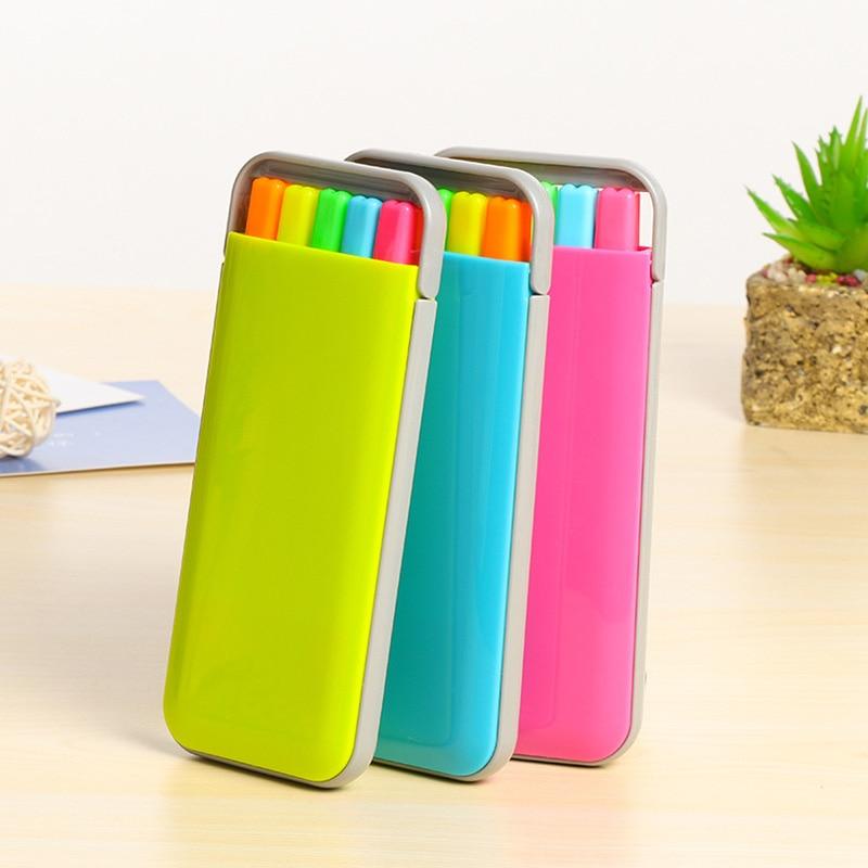 Juego de 5 unids/lote de marcadores rotuladores bonitos de Color caramelo con caja Kawai, bolígrafos de acuarela para pintar papelería coreana, suministros escolares