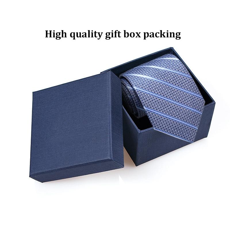 Blue Jacquard weave Striped Tie 8cm Polyester Silk Men's Ties 2019 Business Wedding Party Man Tie Anniversary Neckties Gift Box