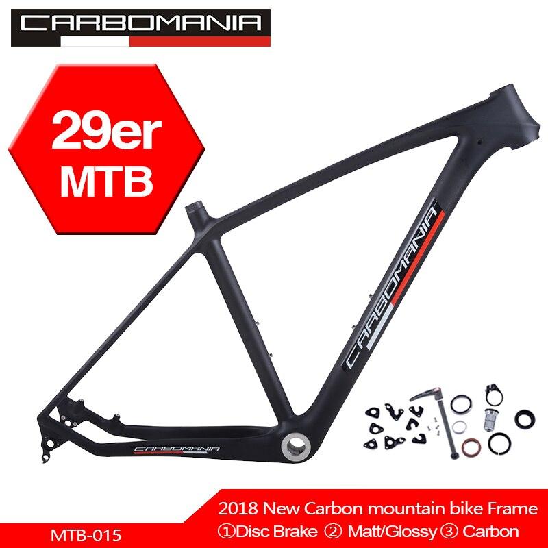 Cuadro de bicicleta de montaña de carbono carbomania 29er marco chino de fibra de carbono T800 Marco de fibra de carbono bicicleta 29 pulgadas Cuadro De Carbono BSA