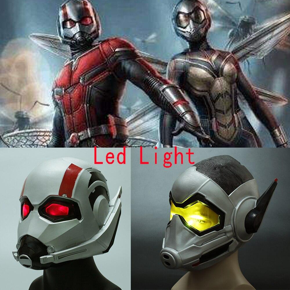 2018 Movie Antman 2 Antman and the Wasp Helmet Led Latex Mask Cosplay Antman Scott Lang Mask Wasp Hope Van Dyna Halloween Mask