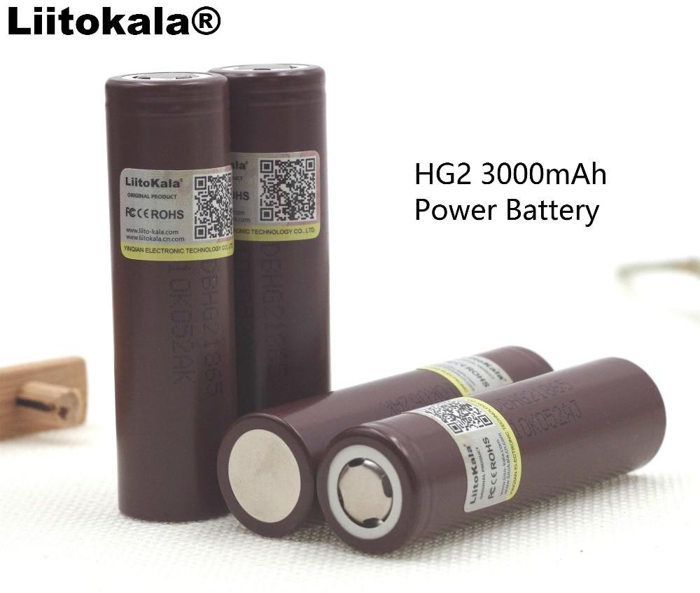 4 piezas 100% nuevo Original HG2 18650 batería 3000 mAh 18650HG2 3,6 V de 20A dedicado para hg2 potencia recargable de la batería