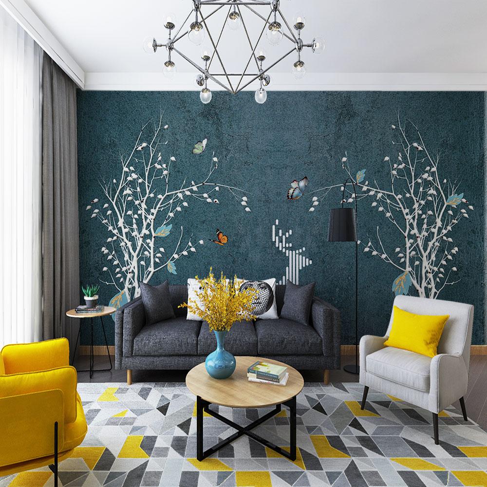 3d خلفيات الشمال مجردة الحديثة جميلة الذهب احباط الأخضر حائط الخلفية التخصيص-ماء تغطي الجدار