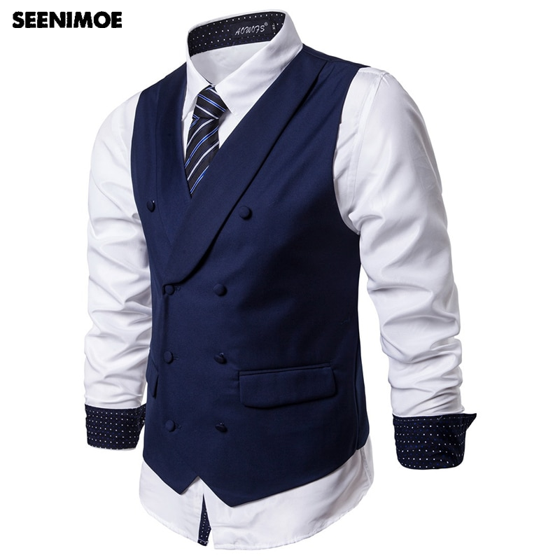 Seenimoe Mens Vest Suit Formal Blazer Vests Double Breasted Lapel collar Solid Party Dress Vest Male S-5XL Mens Waistcoat