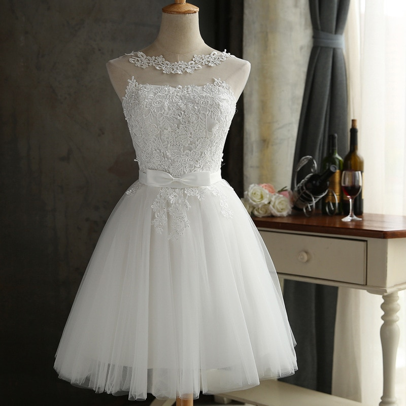 Elegant Gray/White Sheer Neck Lace Robe De Soiree Backless A-line Mini Homecoming Dresses Vestido De Festa Short Party Gowns