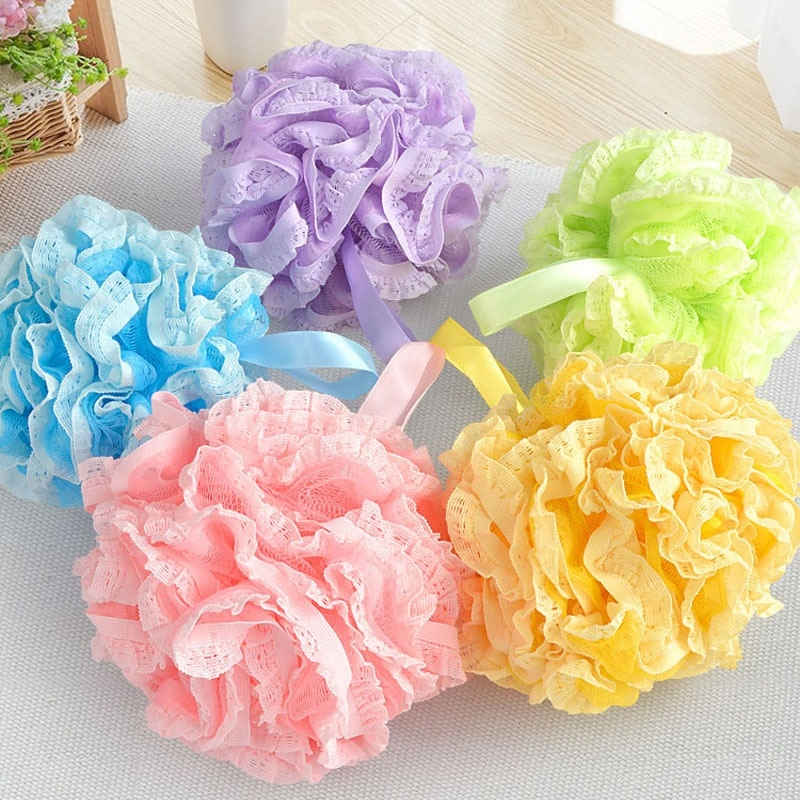100pcs/lot Thicken Bath Cleansing Lace Bathing Ball Massage Puff Sponge Shower Mesh Net Scrub Skin Bathing Products