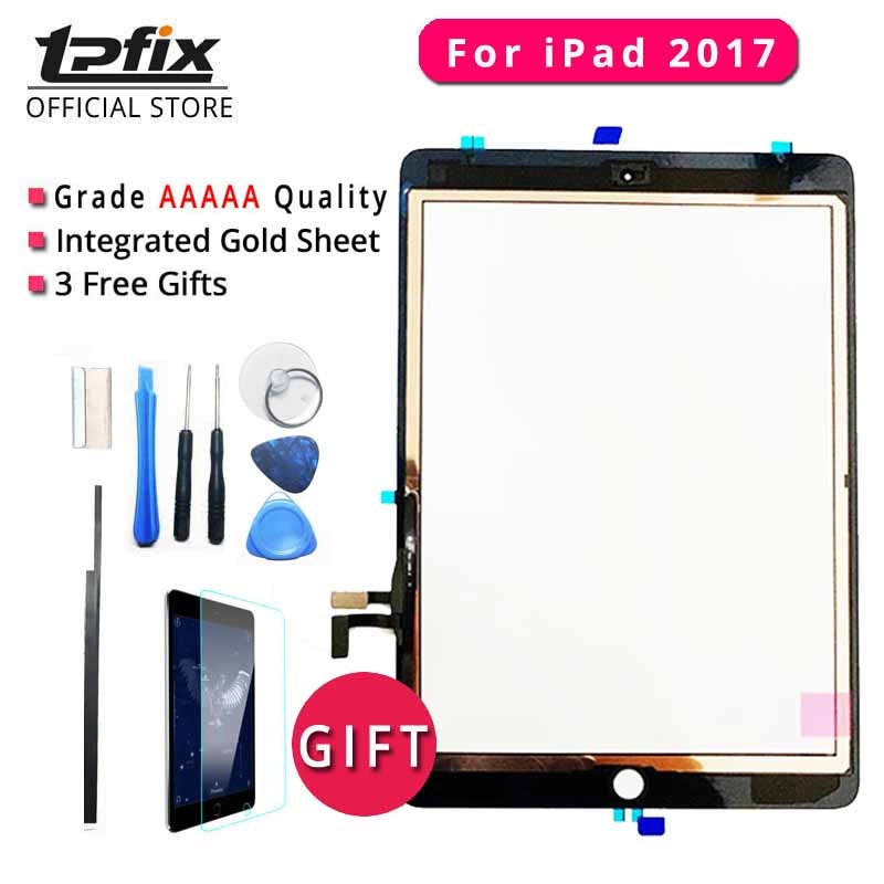 TPFIX Painel Digitador Da Tela de Toque Para O iPad 2017 Vidro Grau AAAAA Frente Assembléia A1822 A1823 Ecran Tátil Ferramentas Cabo Flexível