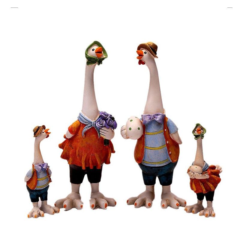 Decoración creativa para el hogar, adorno familiar de pollo, muñeca de resina, adorno para manualidades, figurita de Animal, regalo de cumpleaños, accesorios de decoración para el hogar