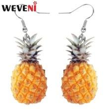 WEVENI Acrylic Tropic Pineapple Fruit Earrings New Long Dangle Drop Trendy Summer Jewelry For Women Girl Bijoux Female Gift 2018