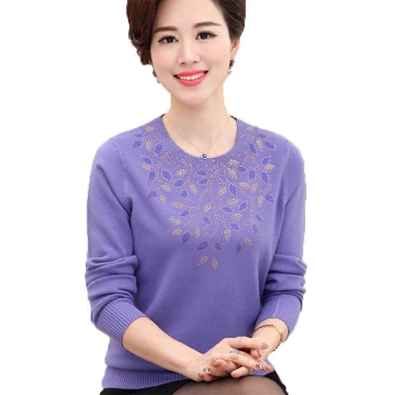 2018 primavera otoño mujeres cuello redondo de manga larga suéter de punto suéter de mediana edad madre de gran tamaño bordado camisa de punto F553
