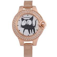 Shiweibao marque femmes montres en or Rose en acier maille sangle femme Quartz montres Cartton Cat cristal mode Relogio Feminino