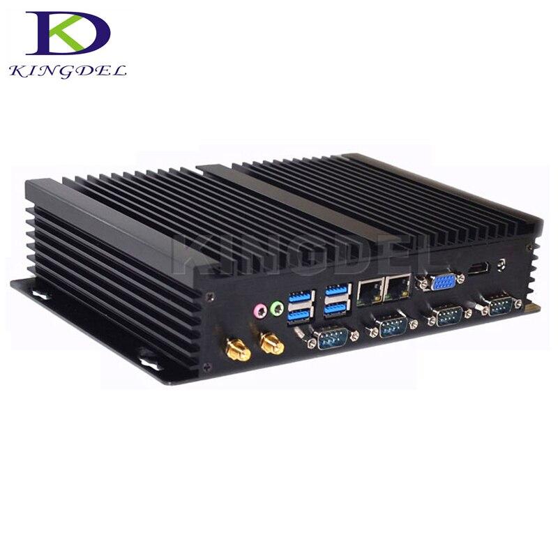 2018 nuevo Barebone PC Industrial Celeron 1037U/i5 3317U Dual Core Fanless Mini PC de escritorio de negocios PC 2 * LAN 4COM... 4USB3.0 HDMI VGA