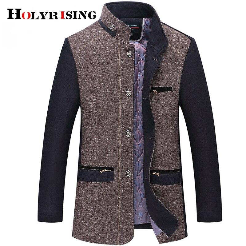 Holyrising winter coat men sobretudo masculino new wool jacket and coat high quality wool thicked trench coat men 18926-5