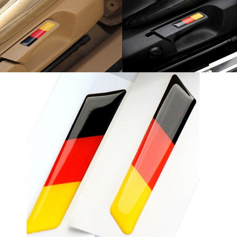 Автомобильный 3D стикер, подъемный ключ, 2 шт., вставка для сиденья, Накладка для Volkswagen VW Golf 5 6 MK5 MK6 GTI, эмблема с немецким флагом