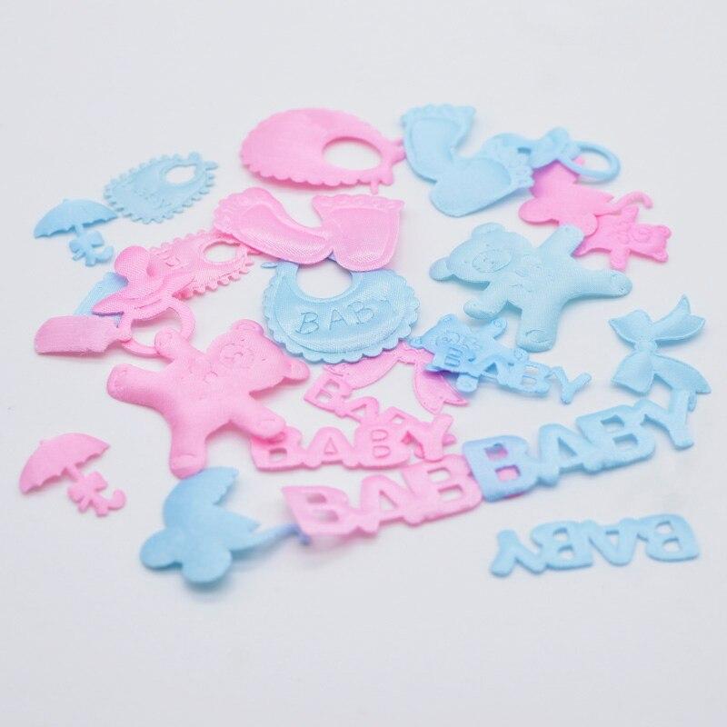 100 pçs carrinhos de bebê chupetas babadores ursos guarda-chuvas letras laço remendos para o aniversário do bebê festa festiva decoração apliques h01