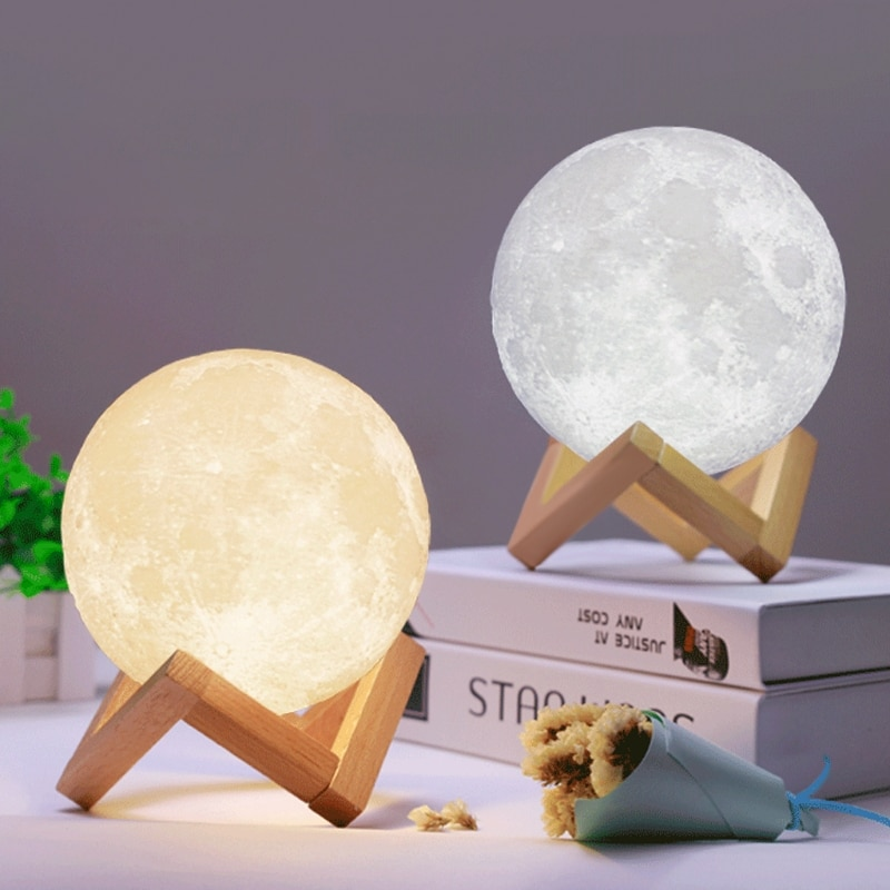 Lámpara LED 3D mágica Luna nocturna lámpara de Luna escritorio carga USB Control táctil decoración del hogar