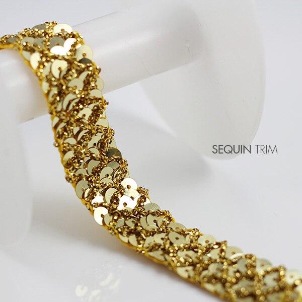 Tecido de lantejoulas de ouro 3row frisado fita trançada applique decorado lacetrim 20mm costura suprimentos para decorações de artesanato 20 quintal/t805
