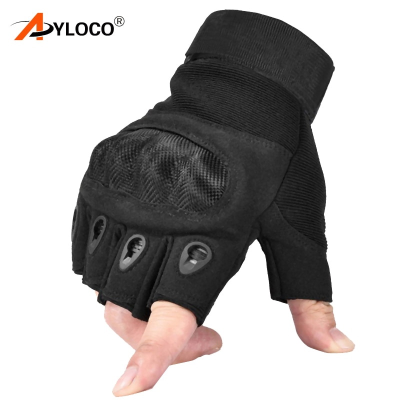 Tactical Fingerless Gloves Military Army Shooting Paintball Airsoft Bicycle Hiking Combat Carbon Knuckle Half Finger Gloves