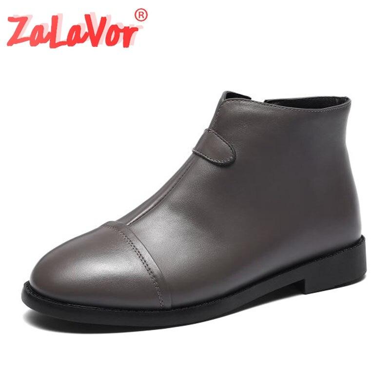 ZALAVOR mujeres suave cuero Real botas cómodas a la altura de los tobillos Oficina diaria señoras Casual pisos botas cremallera otoño calzado tamaño 34-40