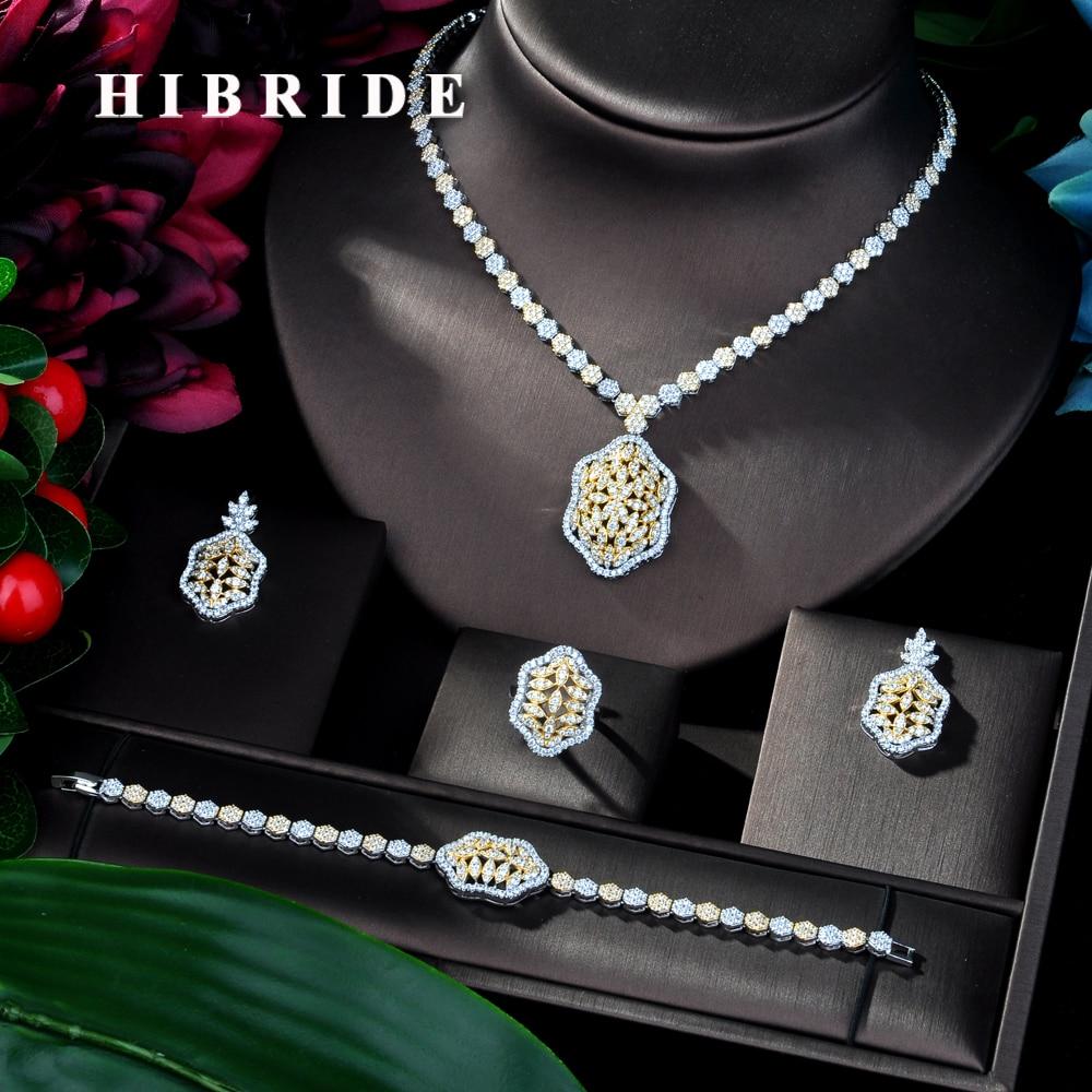 HIBRIDE Latest Fashion Women Wedding AAA Cubic Zirconia Necklace Earring Dubai Jewelry Set Jewellery Addict Bijoux Femmel N-147