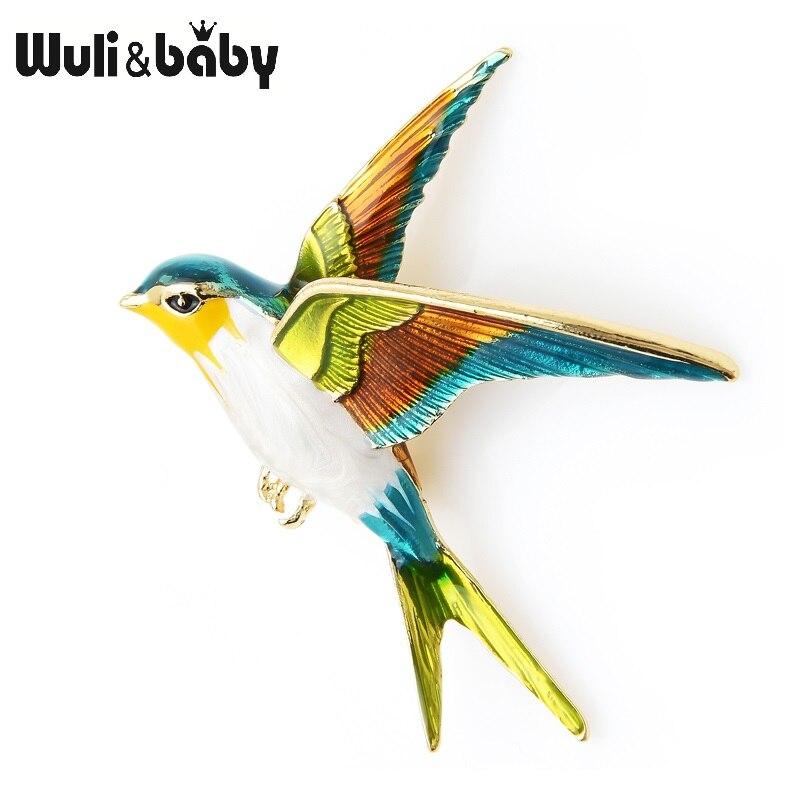 Wuli & Baby эмаль Летающая брошь Ласточка булавки для женщин животное птица брошь ювелирные изделия подарок