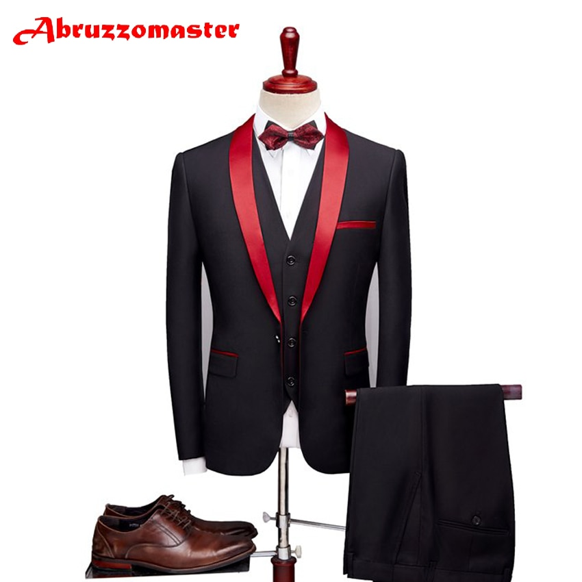 Abruzzomaster-بدلة زفاف رسمية للرجال ، بدلة رسمية مع طية صدر السترة الحمراء ، بدلة زفاف مخصصة للرجال ، سترة وسراويل