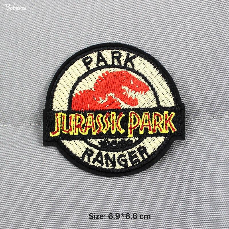 Parches con símbolo de hierro o costura bordada de Jurassic Park Ranger para adhesivos para ropa para chaqueta, decoración de Vaqueros