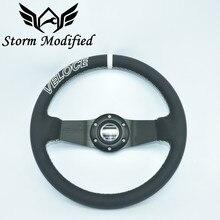 SuTong-volant en cuir PU   De haute qualité convient universel SPCO Racing Sport 320mm plat en alliage profond 5163