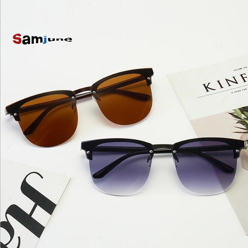 Samjune CLASSIC  Sunglasses Men Half Rimless Mirrored Club Dark Green  Lens Master Sunglasses UV400