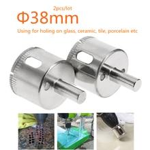 2pcs 38MM Tile Glass ceramic Hole Saw Diamond Cutting tool Core Drill Bit 38mm Diameter Free Shipping