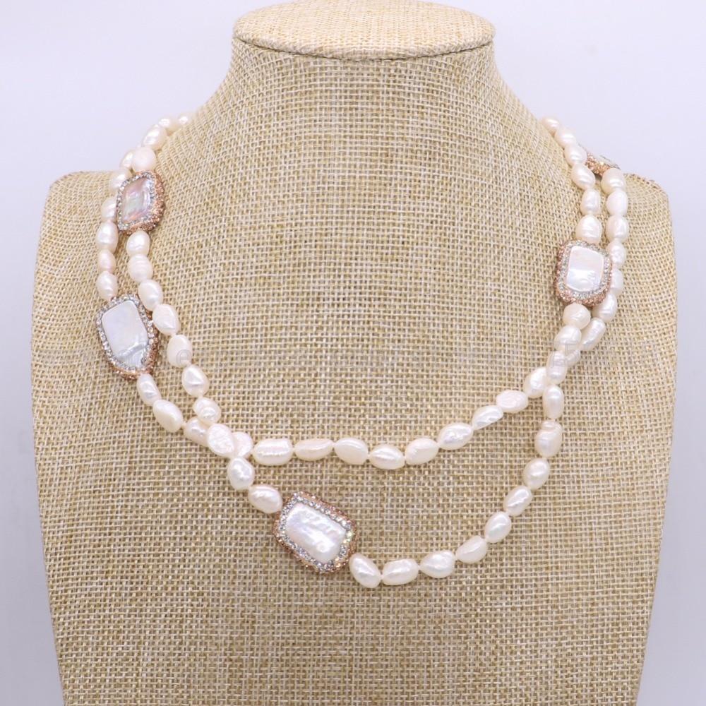 عقد من اللؤلؤ الطبيعي مع 6 قطع مستطيلة ، عقد من اللؤلؤ ، مجوهرات نسائية ، 1833